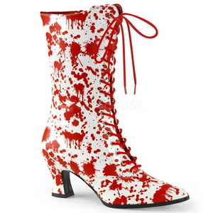 White Red 7 cm VICTORIAN-120BL Lace Up Ankle Calf Women Boots