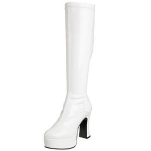 White Shiny 11 cm Funtasma EXOTICA-2000 Platform Knee Boots
