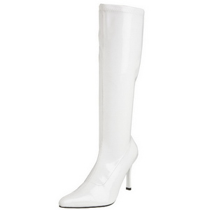 White Shiny 9,5 cm FUNTASMA LUST-2000 Women Knee Boots