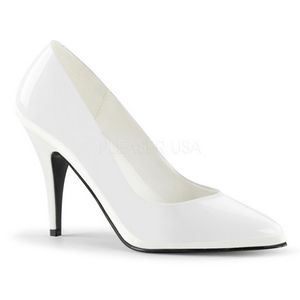 White Varnished 10 cm VANITY-420 pointed toe pumps high heels