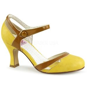 Yellow 7,5 cm retro vintage FLAPPER-27 Pinup Pumps Shoes with Low Heels