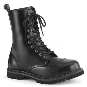 Äkta läder RIOT-10 demonia ståltå stövletter - unisex militära stövlar
