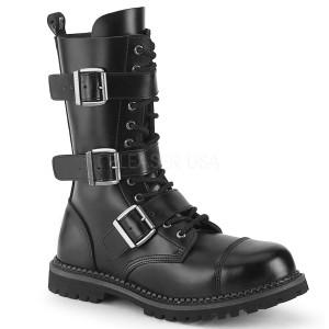 Äkta läder RIOT-12BK ståltå stövlar - demonia militära stövlar