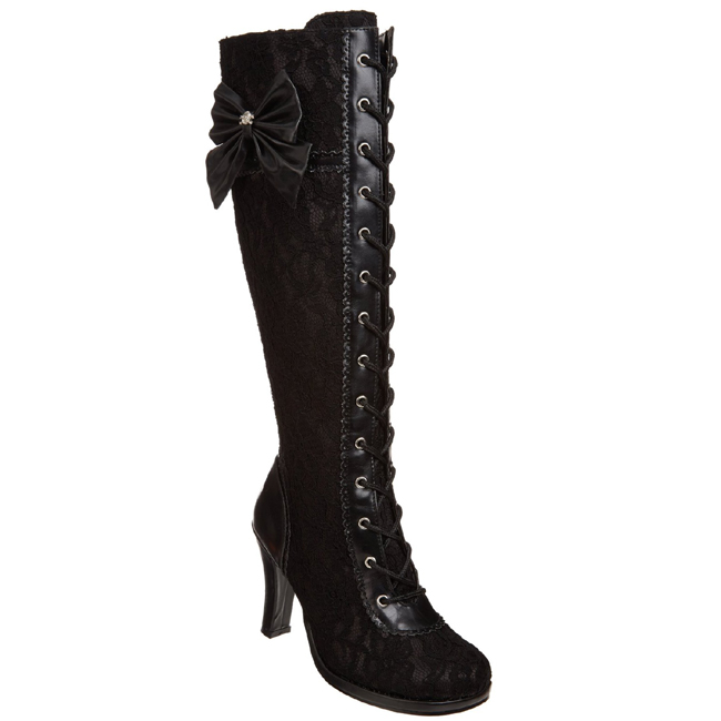 Black 9,5 cm GLAM 240 womens boots with high heels