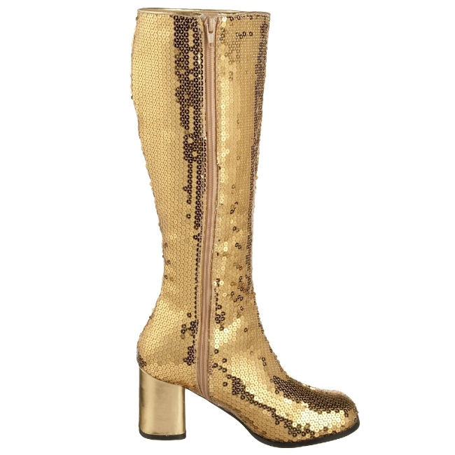 8d996a1d63f Gold Sequins 8 cm SPECTACUL-300SQ Women Knee Boots