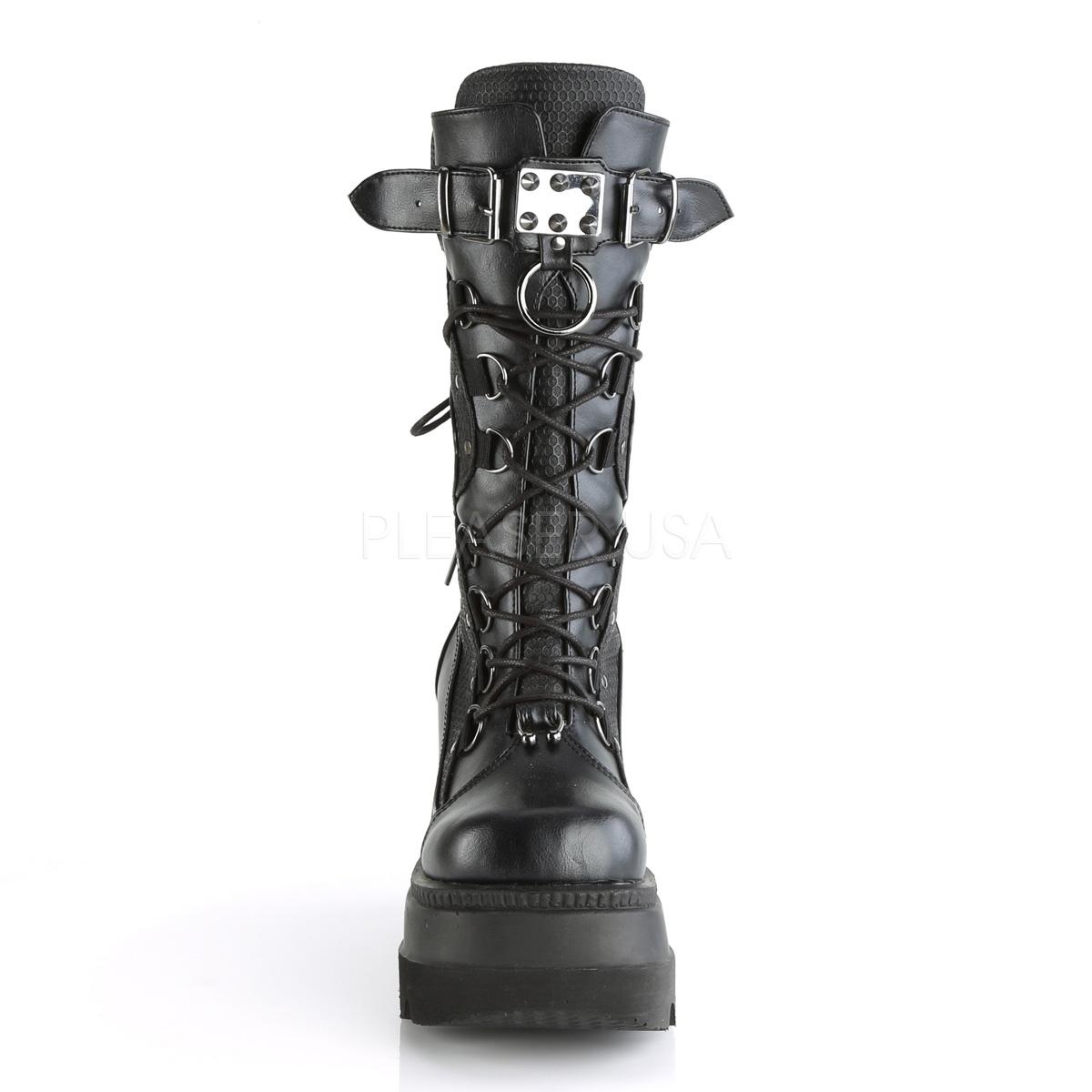 Konstläder 11,5 cm SHAKER 70 Svarta punk stövlar med snörning