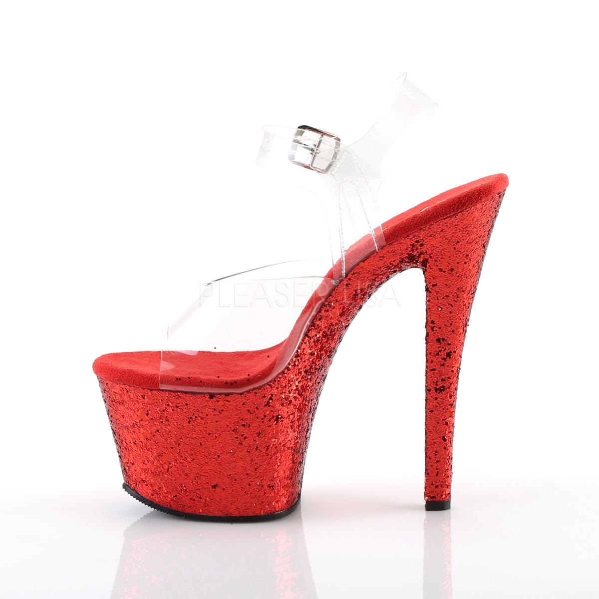 Red glitter 18 cm Pleaser SKY-308LG