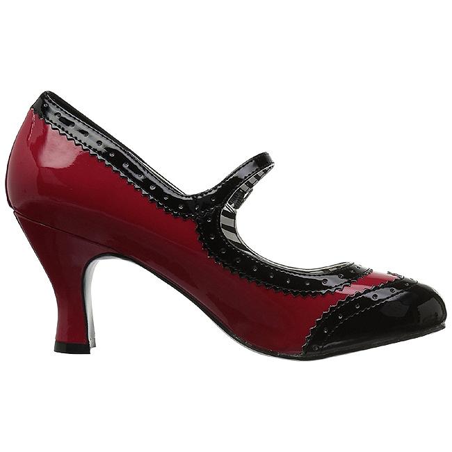 R?d Lackl?der 7,5 cm JENNA 06 stora storlekar pumps skor