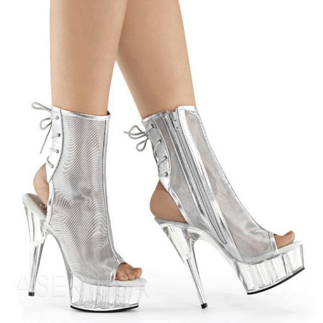 Silver Mesh 16 cm Pleaser DELIGHT-1018MSH Platform Ankle Calf Boots