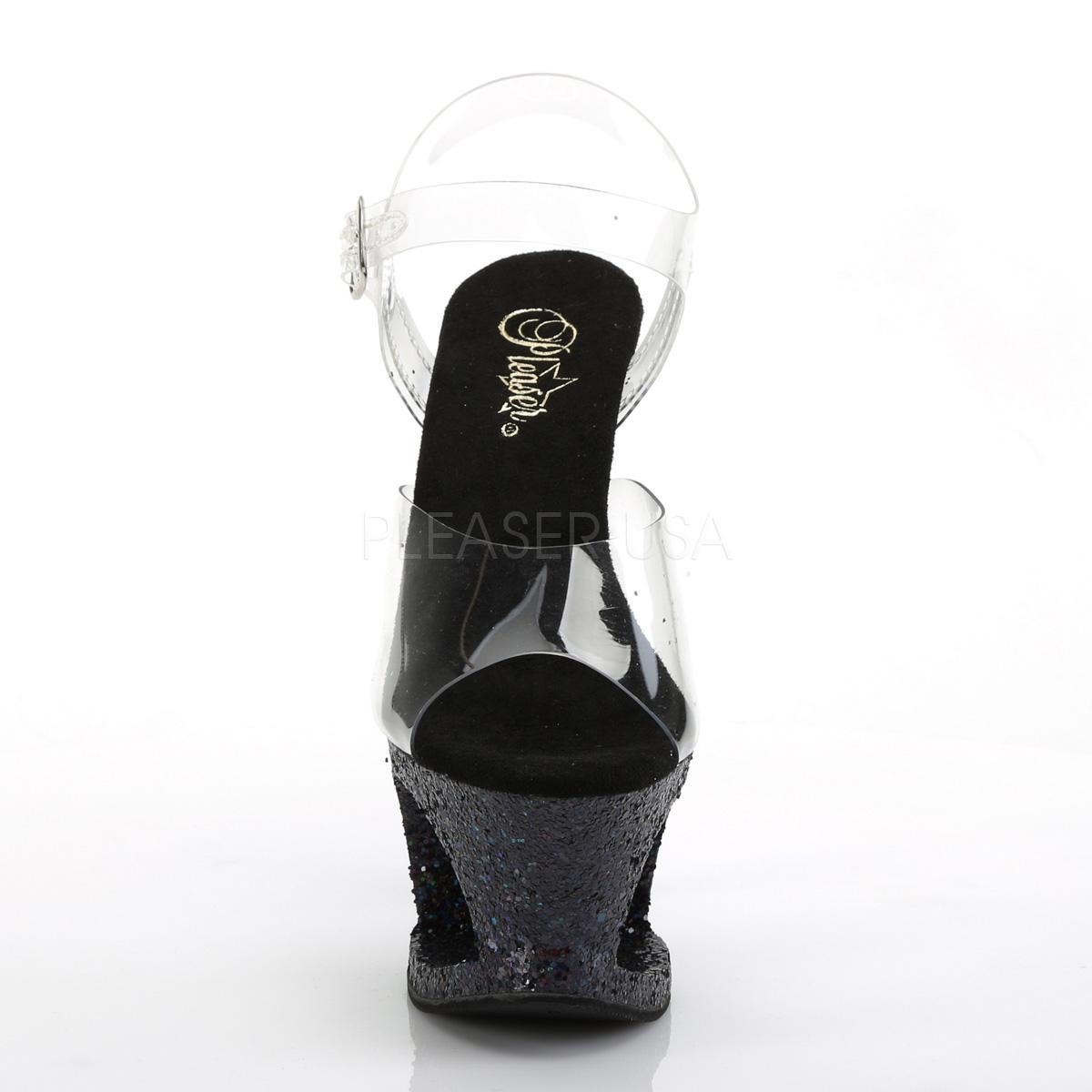 Svart 18 cm MOON 708LG glitter platå klackar skor