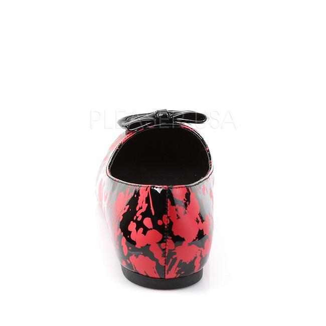 Vit Röd VAIL 20BL goth ballerinaskor med platta klack