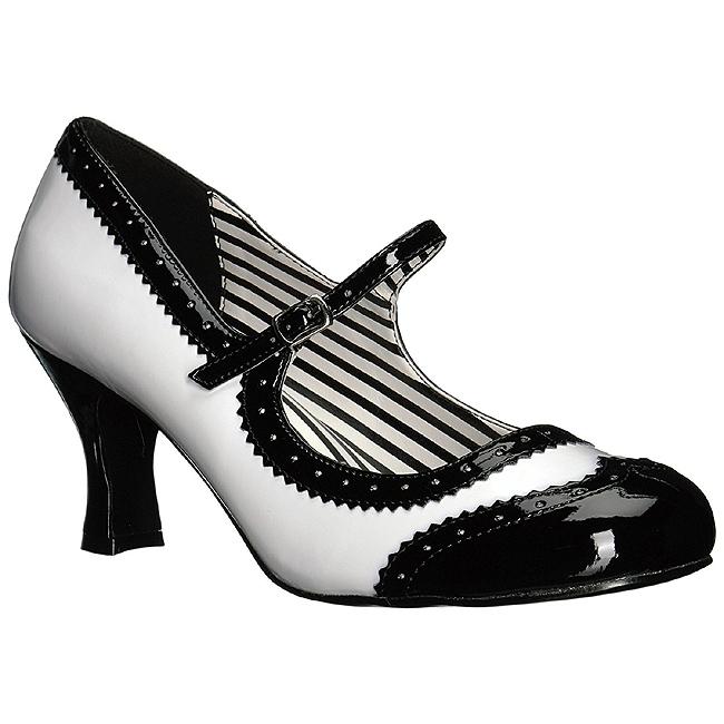 Vit Lackl?der 7,5 cm JENNA 06 stora storlekar pumps skor