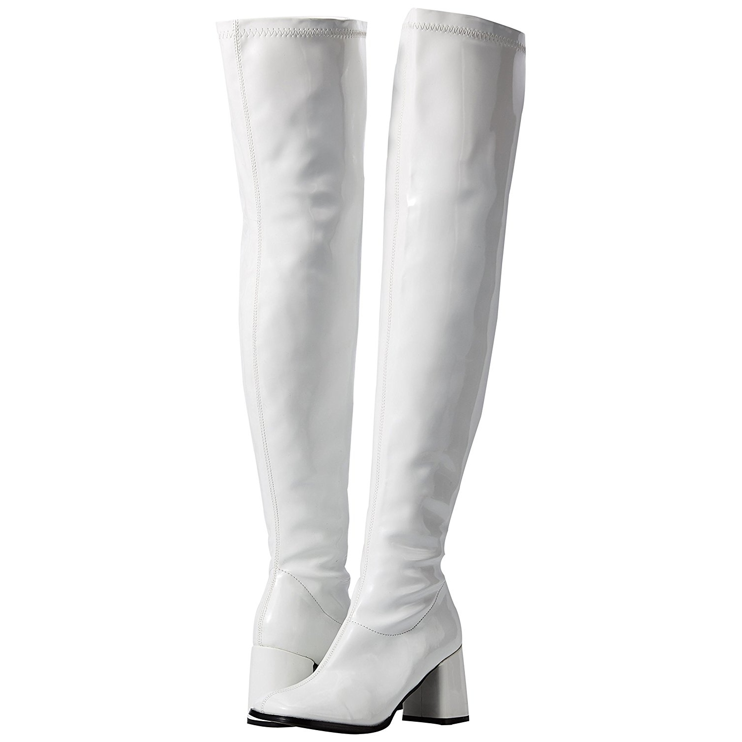 Solved. white thigh high boots have