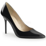 Black Varnished 10 cm CLASSIQUE-20 pointed toe stiletto pumps