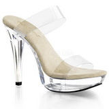Beige 14 cm Pleaser COCKTAIL-502 Platå Höga Slip in Mules