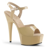 Beige 15 cm DELIGHT-609 platform pleaser high heels shoes