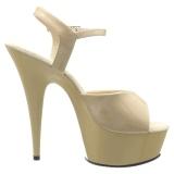 Beige 15 cm DELIGHT-609 pleaser höga klackar för kvinnor