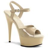 Beige 15 cm Pleaser DELIGHT-609 Högklackade Sandaletter