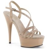 Beige 15 cm Pleaser DELIGHT-613 Högklackade sandaletter med platå