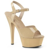 Beige 15 cm Pleaser KISS-209 högklackade sandaletter