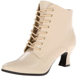 Beige 7 cm VICTORIAN-35 Lace Up Ankle Calf Women Boots