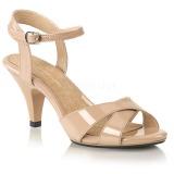 Beige 8 cm Fabulicious BELLE-315 kvinnor sandaler med låg klack