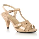 Beige 8 cm Fabulicious BELLE-322 kvinnor sandaler med låg klack
