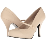 Beige Konstläder 11,5 cm PINUP-01 stora storlekar pumps skor