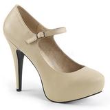 Beige Konstläder 13,5 cm CHLOE-02 stora storlekar pumps skor