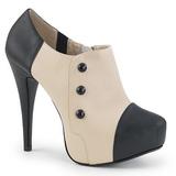Beige Konstläder 13,5 cm CHLOE-11 stora storlekar pumps skor
