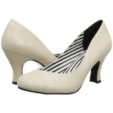 Beige Konstläder 7,5 cm JENNA-01 stora storlekar pumps skor