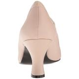 Beige Konstläder 7,5 cm JENNA-06 stora storlekar pumps skor