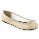 Beige Konstläder ANNA-01 stora storlekar ballerina skor