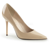 Beige Lack 10 cm CLASSIQUE-20 stora storlekar stilettos skor