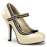 Beige Lack 12 cm PINUP SECRET-15 Mary Jane Höga Platåpumps