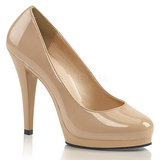 Beige Lackerade 11,5 cm FLAIR-480 dam pumps för män