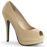 Beige Lackerade 13,5 cm BELLA-12 Dam Pumps Stilettskor