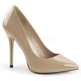Beige Lackerade 13 cm AMUSE-20 spetsiga pumps med stilettklackar
