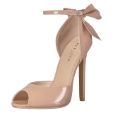 Beige Lackerade 13 cm SEXY-16 Klassiska Pumps Klackskor Dam