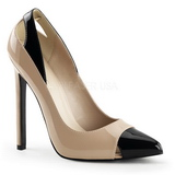 Beige Lackerade 13 cm SEXY-22 Klassiska Pumps Klackskor Dam