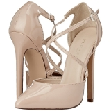 Beige Lackerade 13 cm SEXY-26 Klassiska Pumps Klackskor Dam