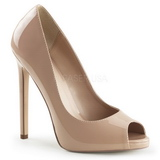 Beige Lackerade 13 cm SEXY-42 Klassiska Pumps Klackskor Dam