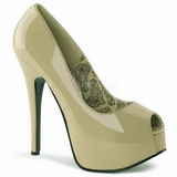 Beige Lackerade 14,5 cm TEEZE-22 Dam Pumps Stilettskor