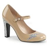 Beige Lackläder 10 cm QUEEN-02 stora storlekar pumps skor