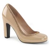 Beige Lackläder 10 cm QUEEN-04 stora storlekar pumps skor