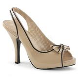 Beige Lackläder 11,5 cm PINUP-10 stora storlekar sandaler dam