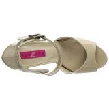 Beige Lackläder 12,5 cm EVE-02 stora storlekar sandaler dam