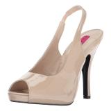 Beige Lackläder 12,5 cm EVE-04 stora storlekar sandaler dam