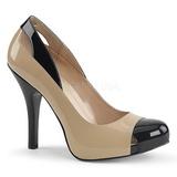 Beige Lackläder 12,5 cm EVE-07 stora storlekar pumps skor