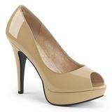 Beige Lackläder 13,5 cm CHLOE-01 stora storlekar pumps skor